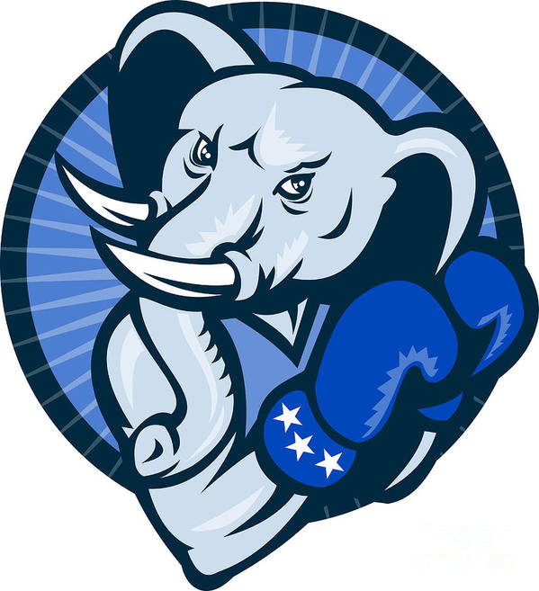 Elephant Print featuring the digital art Elephant With Boxing Gloves Democrat Mascot by Aloysius Patrimonio