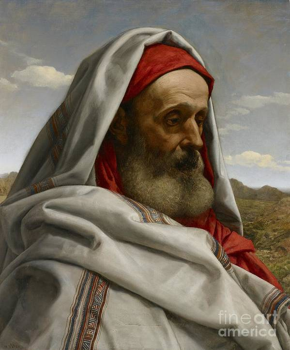 Eliezer Of Damascus; Syrian; Portrait; Male; Cloak; Beard; Head; Shoulders; Bust; Semi-profile; Biblical; Old Testament; Character; Painting;elderly; Old; Wizened; Steward; Portrait Print featuring the painting Eliezer Of Damascus by William Dyce