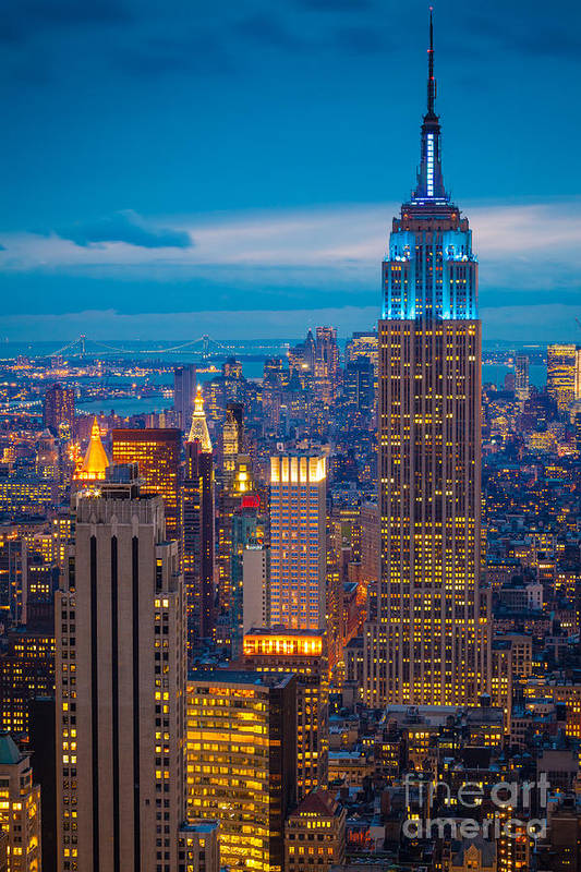 America Print featuring the photograph Empire State Blue Night by Inge Johnsson