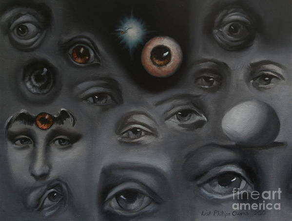 Eyes Print featuring the painting Enter-preyes by Lisa Phillips Owens
