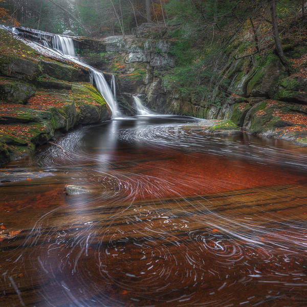 Autumn Waterfall Print featuring the photograph Ethereal Autumn Square by Bill Wakeley
