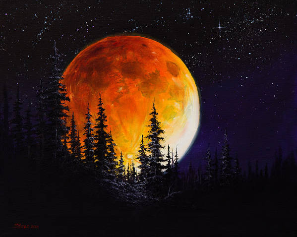 Full Moon Print featuring the painting Ettenmoors Moon by C Steele