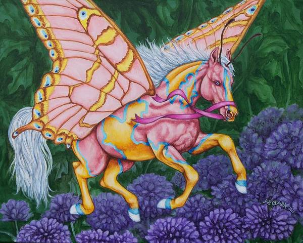 Horses Print featuring the painting Faery Horse Hope by Beth Clark-McDonal