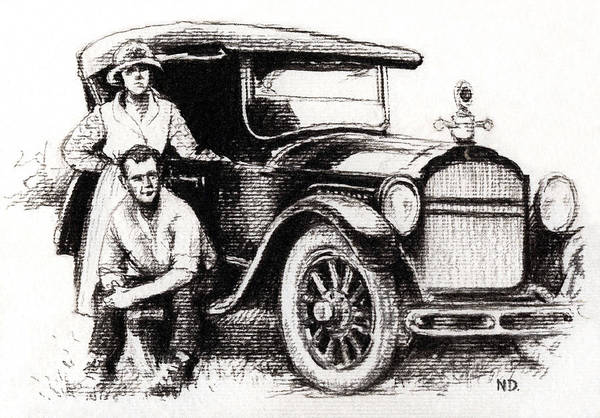 Family Car Print featuring the drawing Family Car by Natasha Denger