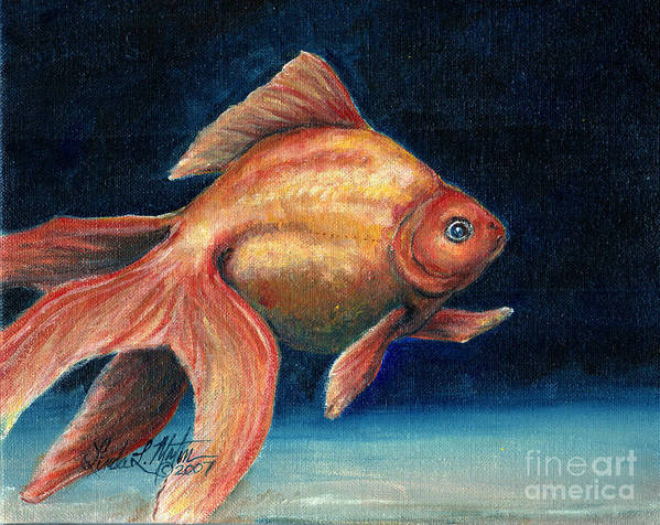 Goldfish Print featuring the painting Fancy Goldfish by Linda L Martin
