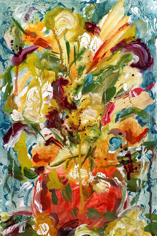 Abstract Vase Flower Print Print featuring the painting Fantasy Floral 1 by Carole Goldman