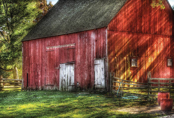 Savad Print featuring the photograph Farm - Barn - The Old Red Barn by Mike Savad