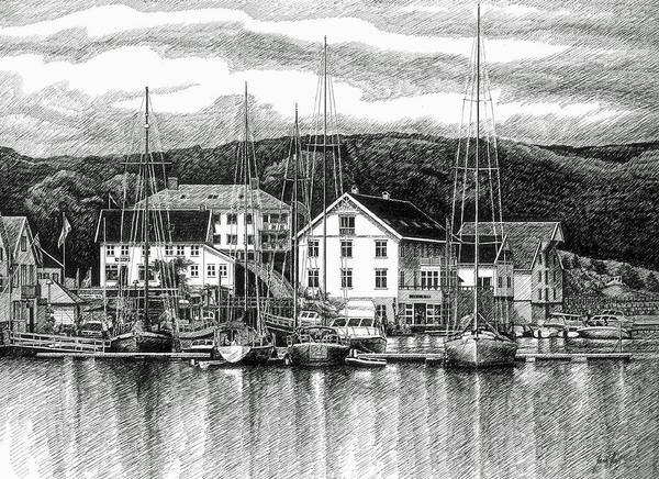Dock Print featuring the drawing Farsund Dock Scene Pen And Ink by Janet King