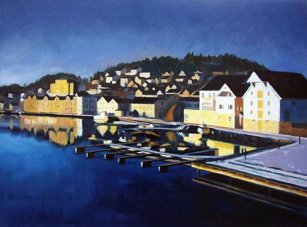 Seascape Print featuring the painting Farsund In Winter by Janet King