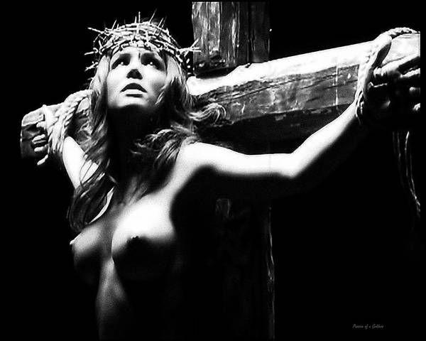 Female Christ Print featuring the photograph Female Christ Black And White by Ramon Martinez