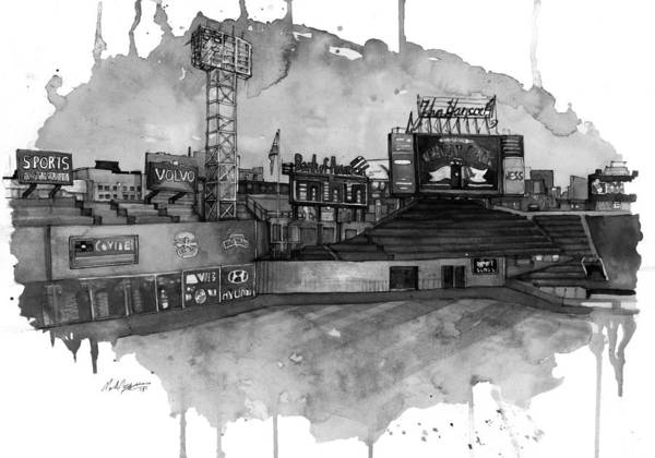 Fenway Print featuring the painting Fenway Bw by Michael Pattison