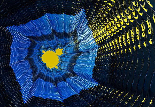 Yellow Print featuring the photograph Field Of Force - Yellow Blue And Black Abstract Fractal Art by Matthias Hauser