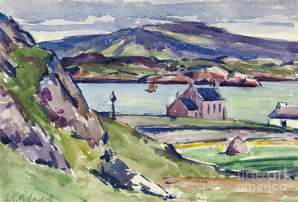 Cadell Print featuring the painting Figure And Kirk  Iona by Francis Campbell Boileau Cadell