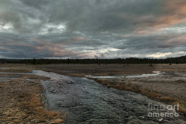 Landscape Print featuring the photograph Firehole Lake Drive Sunrise - Yellowstone Np by Sandra Bronstein