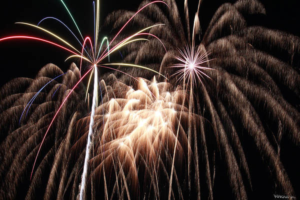 Fireworks Print featuring the photograph Fireworks 3 by Andrew Nourse