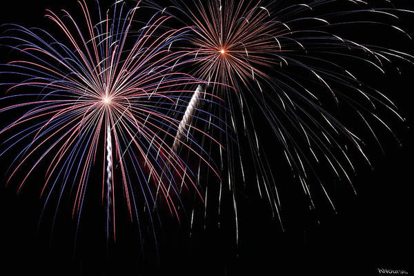 Fireworks Print featuring the photograph Fireworks 4 by Andrew Nourse