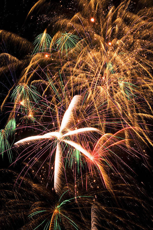 Fireworks Lights Up The Darkness Print featuring the photograph Fireworks Exploding Everywhere by Garry Gay