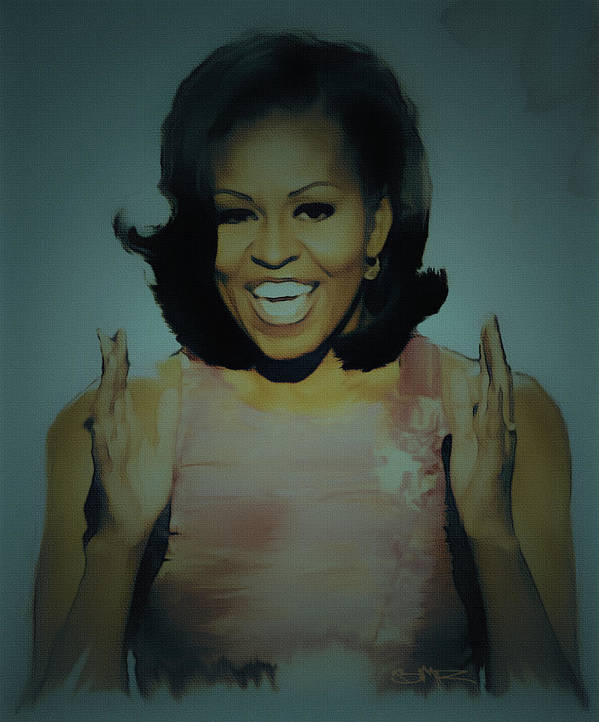Michelle Obama Print featuring the painting First Lady by Brian Reaves