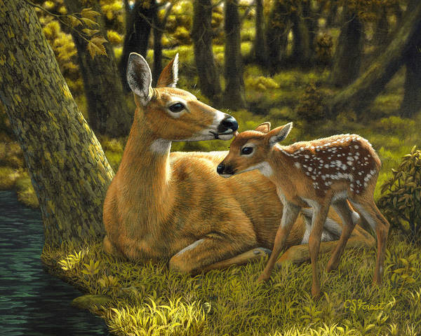 Deer Print featuring the painting First Spring - Variation by Crista Forest