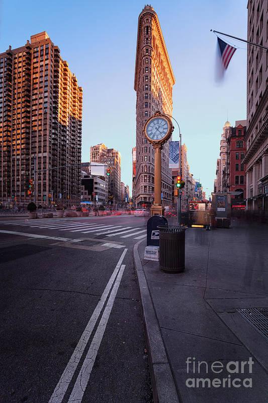 5th Avenue Clock Print featuring the photograph Flatiron Area In Motion by John Farnan