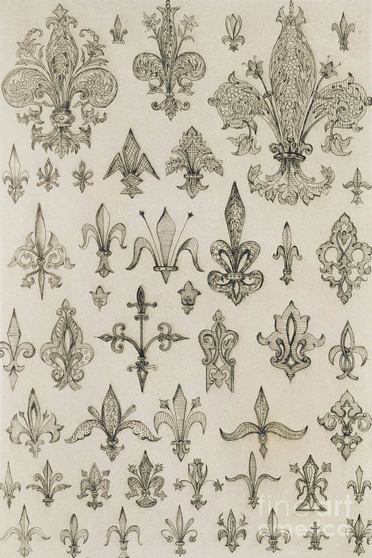 Design; Decoration; Ornament; Lily Print featuring the drawing Fleur De Lys Designs From Every Age And From All Around The World by Jean Francois Albanis de Beaumont
