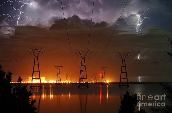 Lightning Print featuring the photograph Florida Power And Lightning by Lynda Dawson-Youngclaus
