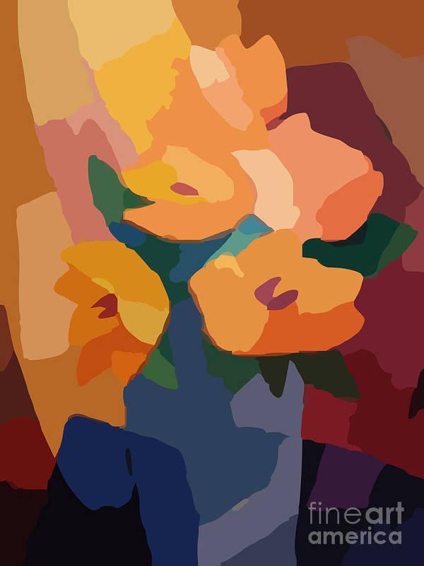 Flower Deco Print featuring the digital art Flower Deco I by Lutz Baar