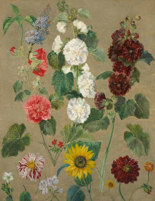 Flower Print featuring the painting Flowers by Ferdinand Victor Eugene Delacroix