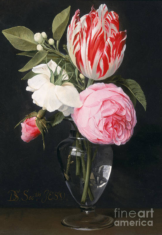 Rose Print featuring the painting Flowers In A Glass Vase by Daniel Seghers