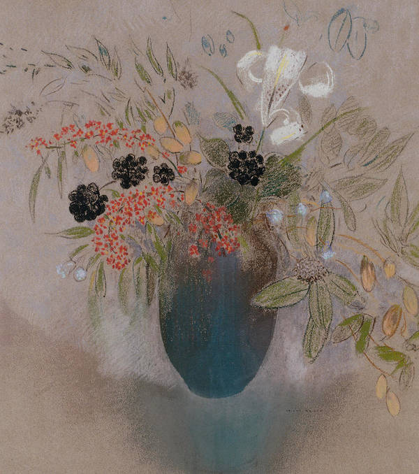 Still Life; Flower Print featuring the painting Flowers In A Vase by Odilon Redon