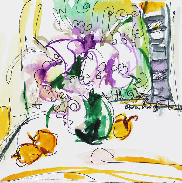 Flowers Print featuring the painting Flowers In Green Vase by Becky Kim