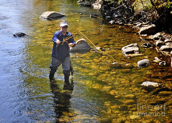 Nava Jo Thompson Print featuring the photograph Fly Fishing For Trout by Nava Thompson