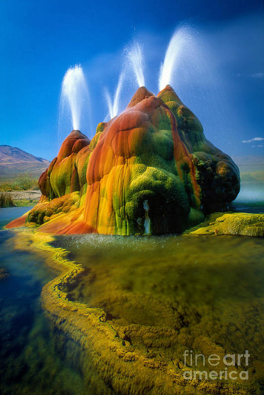 Fly Geyser Print featuring the photograph Fly Geyser Travertine by Inge Johnsson