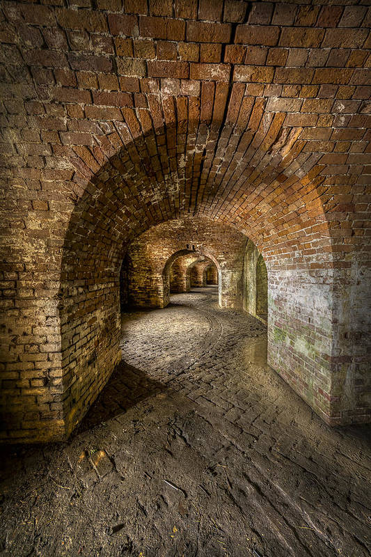 Fort Macomb Print featuring the photograph Fort Macomb Arches Vertical by David Morefield