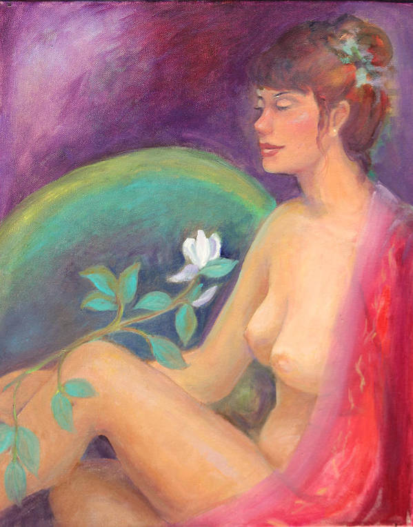 Figure Pose Print featuring the painting Fragrance Of A Dream by Gwen Carroll