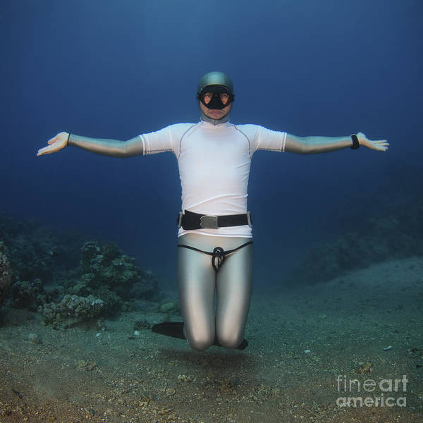 Freedom Print featuring the photograph Freediver Underwater by Hagai Nativ