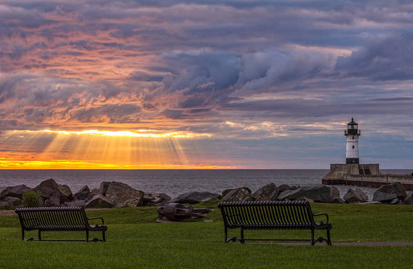 front Row Seats lake Superior canal Park canal Park Lighthouse duluth north Shore Sunrise Dawn Rays god Rays Clouds Benches Lighthouse great Lake Sunset Sunrays Magic Nature Summer perfect Duluth Day mary Amerman Print featuring the photograph Front Row Seats by Mary Amerman