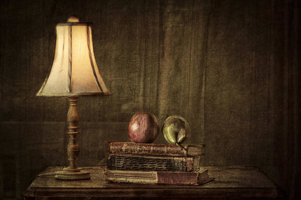 Apple Print featuring the photograph Fruit And Books by Erik Brede