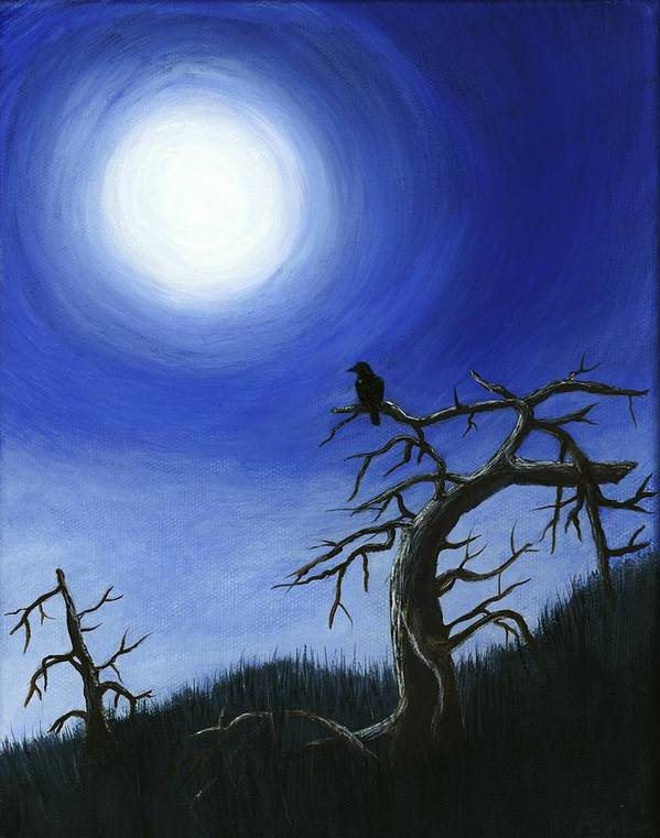 Interior Print featuring the painting Full Moon by Anastasiya Malakhova