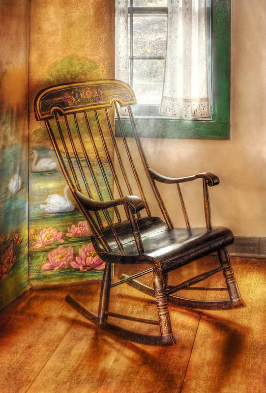 Savad Print featuring the photograph Furniture - Chair - The Rocking Chair by Mike Savad