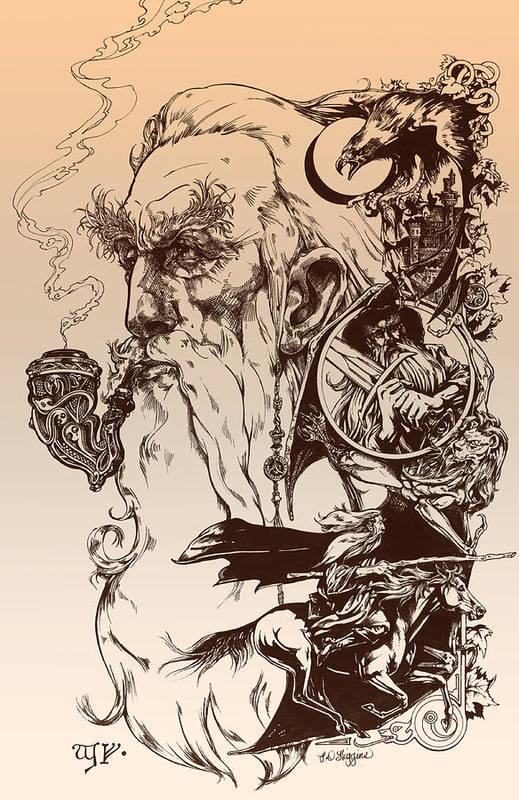 Wizard Print featuring the drawing gandalf- Tolkien appreciation by Derrick Higgins