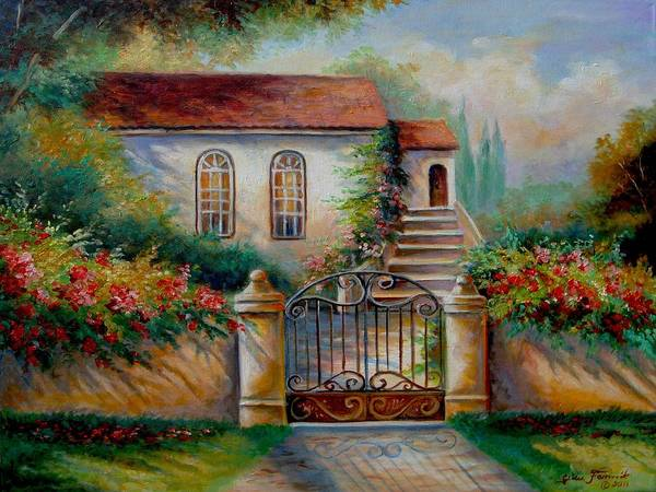 Garden Scene With Villa And Gate Print Print featuring the painting Garden Scene With Villa And Gate by Regina Femrite