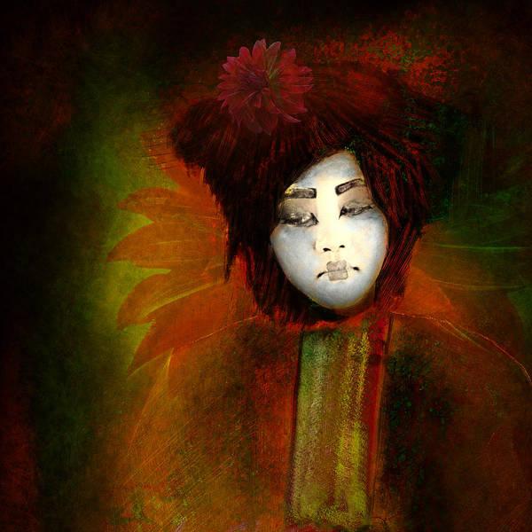 Giesha; Japan; Flower; Dalia; Abstract Reality; Imagesfx; Jeff Burgess; Jeff Burgess Photographer; Faa; Asia; Far East; Concubine; Entertainer; Hostess Print featuring the photograph Geisha5 - Geisha Series by Jeff Burgess