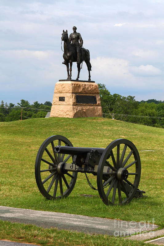 Gettysburg Print featuring the photograph General Meade Monument And Cannon by James Brunker