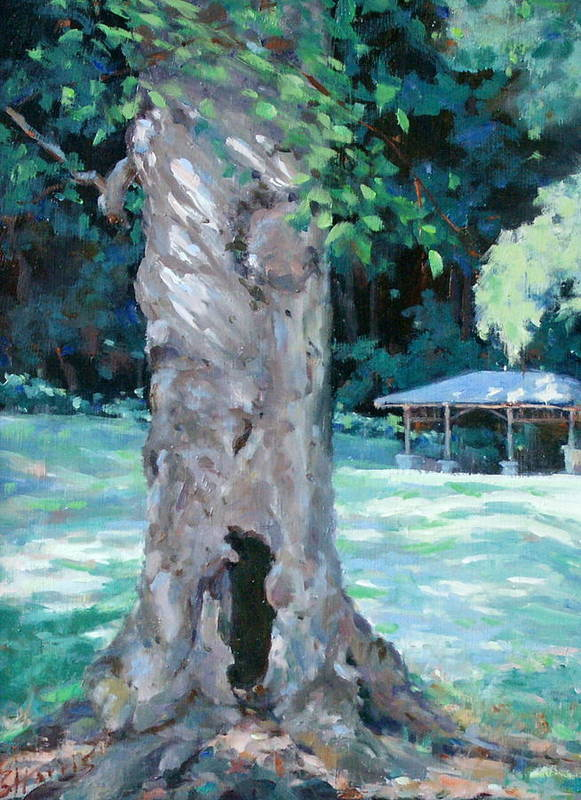 Percy Warner Park Print featuring the painting Gentle Giant by Sandra Harris