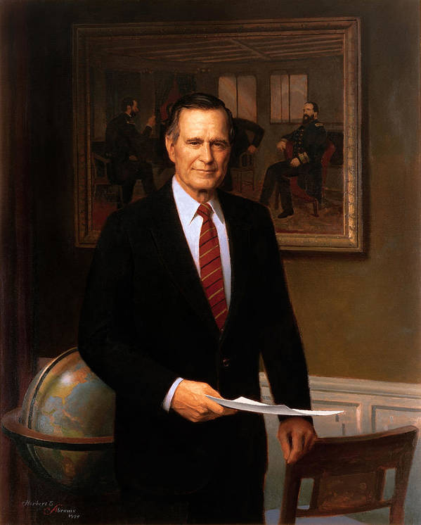 George Bush Print featuring the painting George Hw Bush Presidential Portrait by War Is Hell Store