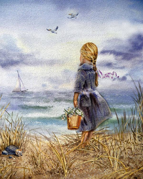 Girl Print featuring the painting Girl And The Ocean by Irina Sztukowski