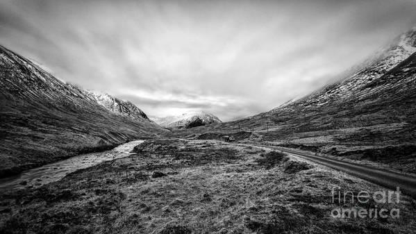 Beautiful Scotland Print featuring the photograph Glen Etive Road And River by John Farnan