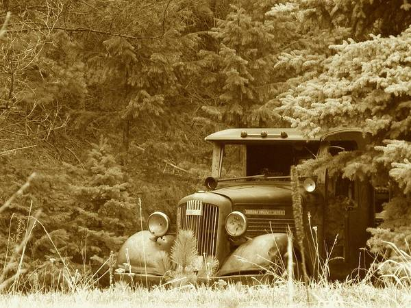 Transportation Print featuring the photograph Gm Truck Sepia by Steven Parker