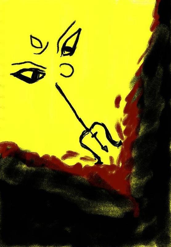 Goddess Print featuring the drawing Goddess by Raj Ritwik Mitra